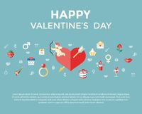 Digital  february happy valentine`s day. And wedding celebration color simple flat icon set with red heart, angel and love isolated infographics Royalty Free Stock Photography