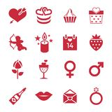 Digital  february happy valentine`s day. And wedding celebration color simple flat icon set with red heart, angel and love Royalty Free Stock Photo