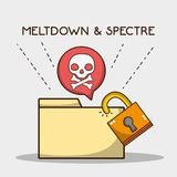 Digital file with security padlock and skull. Vector illustration royalty free illustration