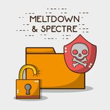 Digital file with skull and security padlock. Vector illustration vector illustration