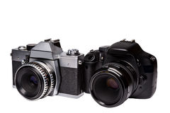 Digital and film camera with lenses from Royalty Free Stock Images