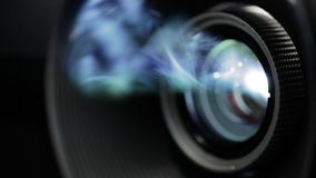 Digital film projector lens in action stock footage