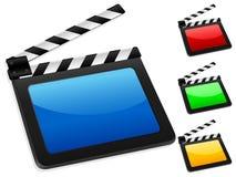 Digital film slate. 3D digital movie clapper board. Vector illustration Stock Photos