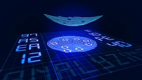 Digital finger touching fingerprint scanner and starting analyzing process. Digital finger with glowing lines touches fingerprint scanner surface followed by a stock illustration