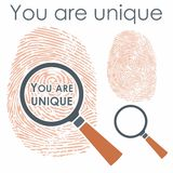 Digital finger with magnifying glass and message royalty free illustration