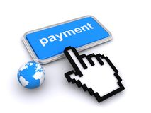 Global Payment Button. Digital finger pointing to a global payment button Stock Photos