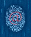 Digital finger print with e-mail mark. Digital evidence Royalty Free Stock Photo