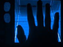 digital fingeravtryckscanning för cybersecurity arkivfoto