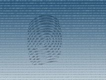 Digital fingerprint. On background made of 0 and 1 digits Stock Photography