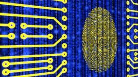 Digital fingerprint on datastream circuit board. Fingerprint embedded in a circuit board on a blue digital datastream background 3D illustration Royalty Free Stock Photos