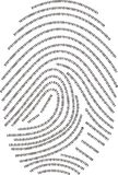 Digital fingerprint  - made with numbers !!!. A fingerprint made with numbers 0101110101 Stock Image
