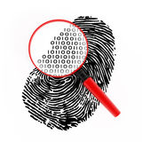 Digital fingerprint. Magnifying glass with binary code on fingerprint Stock Images