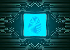 Digital Fingerprint scanner; Identification system; Cyber security concept.  Stock Photos