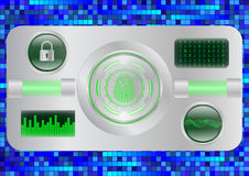 Digital Fingerprint scanner; Identification system; Cyber security concept Royalty Free Stock Images