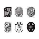 Digital fingerprint vector set. Black and white element. Flat style. Vector illustration Royalty Free Stock Image
