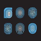 Digital fingerprint vector set. Element on black background. Flat style. Vector illustration Royalty Free Stock Images