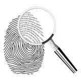 Digital fingerprinting. Illustration of magnifying glass and binary code in fingerprint Royalty Free Stock Image