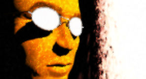 Digital Fire. Close-up mans face sunglasses fire Stock Photography