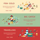 Digital  fishing activity set collection. Digital  fishing activity infographics set collection decoration objects color simple flat icon with holding net or rod Stock Image