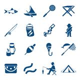 Digital  fishing activity set collection. Decoration objects color simple flat icon with holding net or rod Royalty Free Stock Image