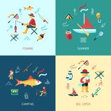 Digital  fishing activity set collection. Decoration objects color simple flat icon with holding net or rod, summer camping Stock Photos