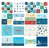 Digital  fishing activity set collection. Digital  fishing activity bundle set collection decoration objects color simple flat icon with holding net or rod Royalty Free Stock Photos