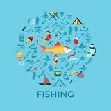 Digital  fishing activity set collection. Digital  fishing activity infographics set collection decoration objects color simple flat icon with holding net or rod Royalty Free Stock Photography