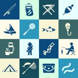 Digital  fishing activity set collection. Decoration objects color simple flat icon with holding net or rod Royalty Free Stock Photos