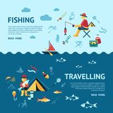 Digital  fishing activity set collection. Digital  fishing travelling activity infographics set collection decoration objects color simple flat icon with holding Stock Photography