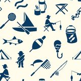Digital  fishing activity set collection. Digital  seamless pattern fishing activity set collection decoration objects color simple flat icon with holding net or Stock Photos