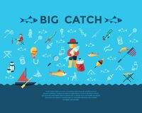 Digital  fishing activity set collection. Digital  fishing activity infographics set collection decoration objects color simple flat icon with holding net or rod Royalty Free Stock Images