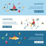 Digital  fishing activity set collection. Digital  fishing activity infographics set collection decoration objects color simple flat icon with holding net or rod Stock Photo