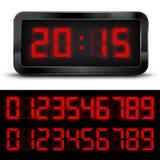 Digital Font. Digital  Clock with Liquid Crystal  Display  Red. Vector illustration Stock Photo