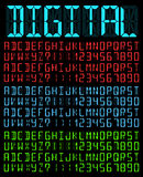 Digital Font. Digital Liquid Crystal  Display Font Bright Colored  Blue version. Vector set Royalty Free Stock Images