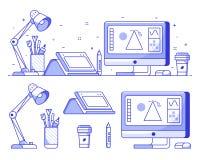 Digital formgivare- eller illustratörsymboler vektor illustrationer