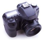 Digital fotokamera med den 50mm linsen Arkivbild