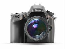 Digital fotokamera på vit isolerad bakgrund. Arkivfoton