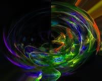 Digital abstract fractal shape curve decoration dynamic energy. Digital fractal, design graphic overlay curve shape royalty free illustration