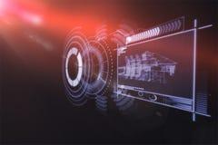 Digital frambragd bild av apparatmanöverenheten med grafer 3d Royaltyfri Bild