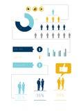 Digital frambragd infographic blått- och gulingaffär Royaltyfri Foto