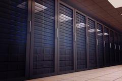 Digital frambragt serverrum med torn Royaltyfri Foto