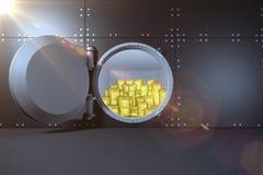 Digital frambragt sned boll öppnat kassaskåp royaltyfri fotografi