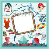Digital frame nautical pirates Royalty Free Stock Images