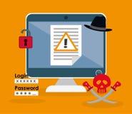 Digital fraud and hacking design. Vector illustration Stock Image