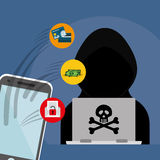 Digital fraud and hacking design. Vector illustration Royalty Free Stock Photography