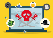 Digital fraud and hacking design. Vector illustration Stock Photography
