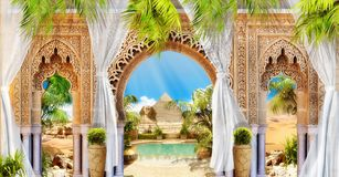 Digital fresco. Arch and pyramide. stock image