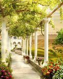 Digital freskomålning Landscpae från villan royaltyfri illustrationer
