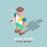 Digital future coffee break, cubes composition isometric vector illustration Stock Photography