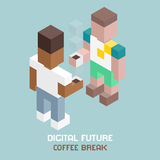 Digital future team coffee break, cubes composition isometric vector illustration Stock Image
